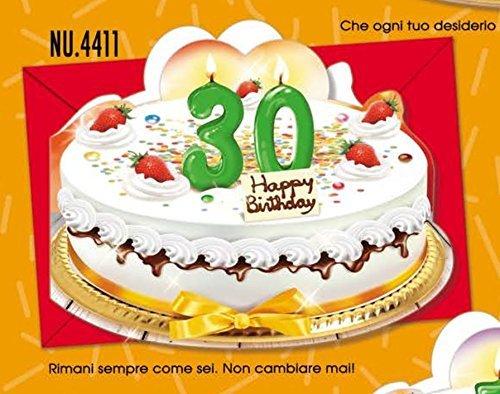 Tarjeta Felicitación cumpleaños 30 años a forma de tarta ...