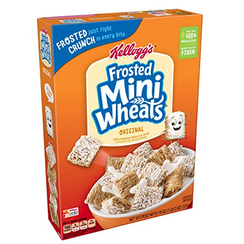 - Kellogg's Breakfast Cereal, Frosted Mini-Wheats, Original, Low Fat, Excellent Source of Fiber, 18 oz Box(Pack of 4)