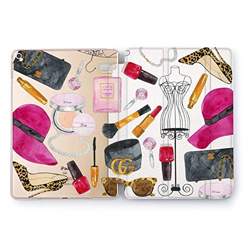 Wonder Wild Girls things Apple iPad Pro Case 9.7 11 inch Mini 1 2 3 4 Air2 10.5 12.9 2018 2017 Design 5th 6th Gen Clear Smart Hard Cover Texture Watercolor Girl Things Fashion Lipstick Gift Earrings ()