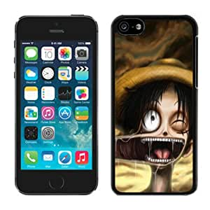 Nice Designed Phone Case With luffy one piece Cover Case For iPhone 5c Black Phone Case CR-384