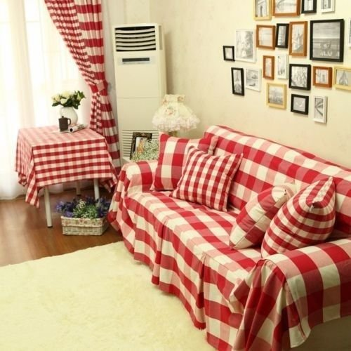 Red Grid Vintage Style Cotton Loveseats Couch Cover Throw