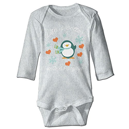 (Arromper Life Is Better With A Penguin NewBorn Long Sleeve Jumpsuit Outfits Ash 18 Months)
