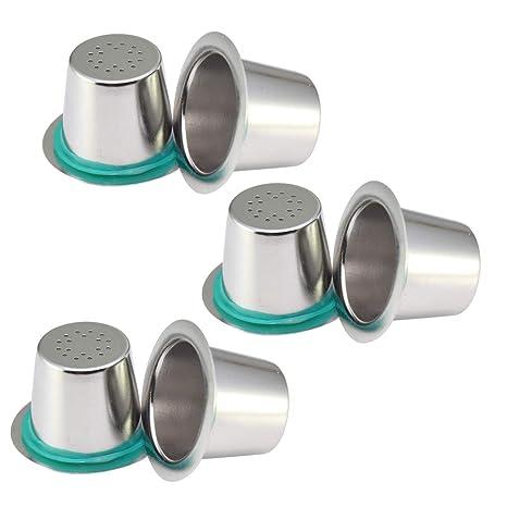 Rolin Roly - 6 cápsulas de acero inoxidable reutilizables para máquinas de café Nespresso, filtros