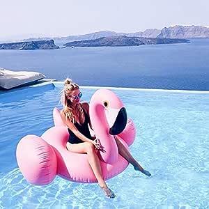 CilyCily Oro Rosa Flotador inflable en forma de flamenco tamaño gigante para la piscina o playa, flamenco flotador hinchable para la piscina o la ...