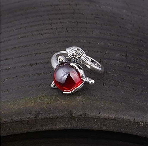 (925 Sterling Silver Gemstone Fox Ring For Women With The Carved Fox Tail, Garnet And Chalcedony Ring, Open Adjustable Ring, 5 Colors, Vintage Ring Handmade, Women Rings Sterling)