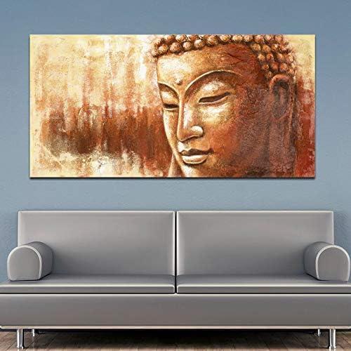 PLjVU Pintura al óleo Abstracta de Buda Dorado Impreso Lienzo Pintura Mural Imagen Sala de Estar Arte religioso Cuadros decoración del hogar-Sin Marco