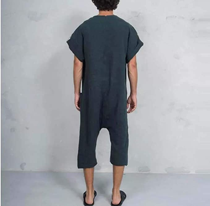 huateng Mens Casual Jumpsuits Long Sleeve Casual One Piece Romper Suit M-3XL