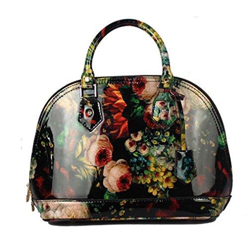 Flower Satchel Handbags (VMATE PU Totes with Flower Image Delicate Handbag Satchel Shoulder Bag Purse for Women)