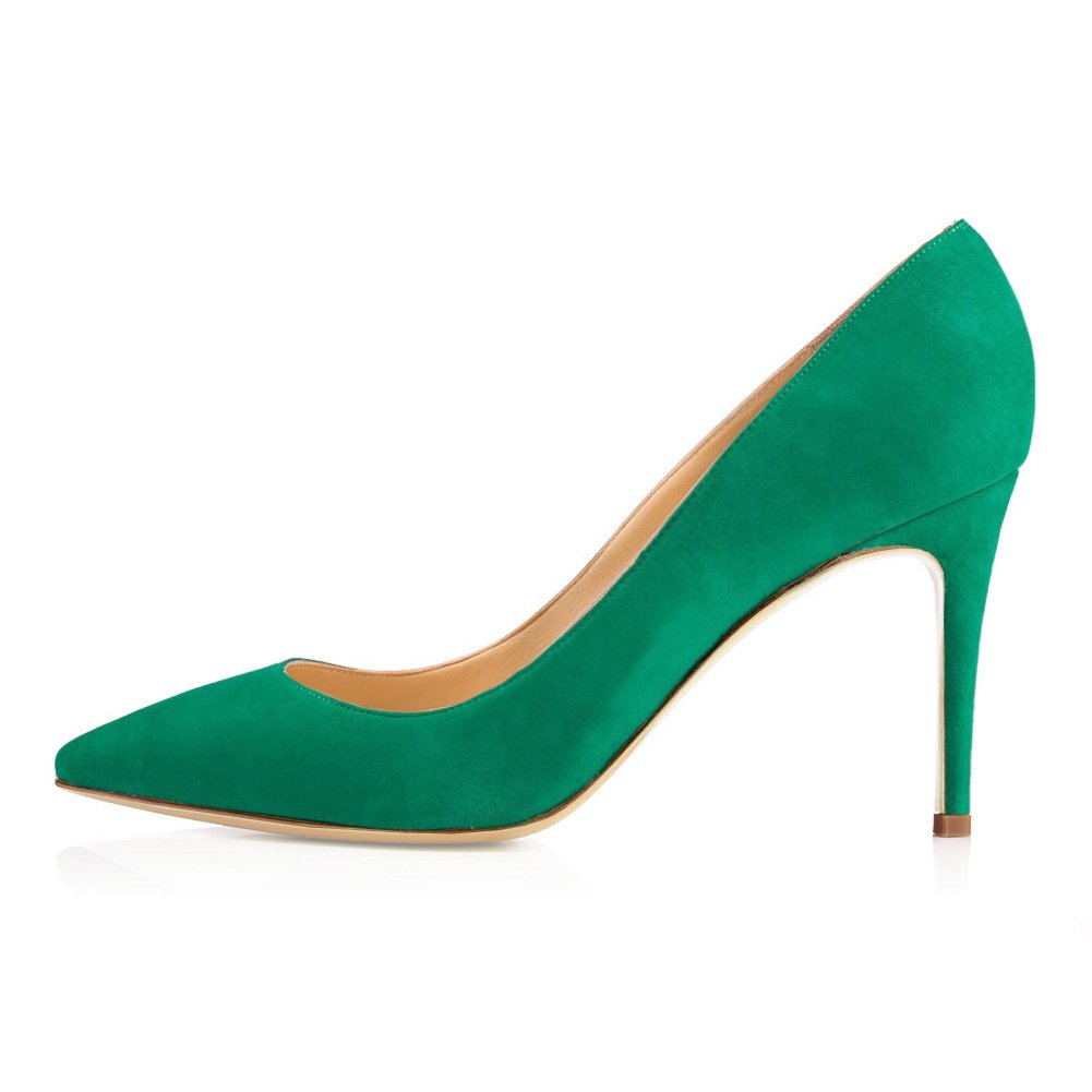 June in Love Women's Middle Heels Sexy Stiletto Shoes Pointy Toe Slip-On Office Pumps Suede Green 7 US
