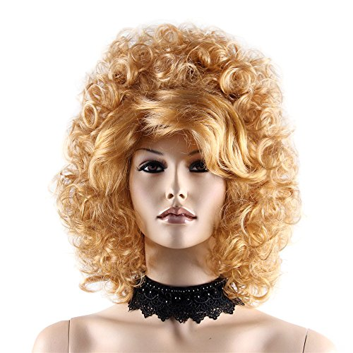 Blonde Hippie Costumes Wig (STfantasy Beehive Wig Blonde Gold Afro Curl Kinky for Women Costume Party Hairpiece 16
