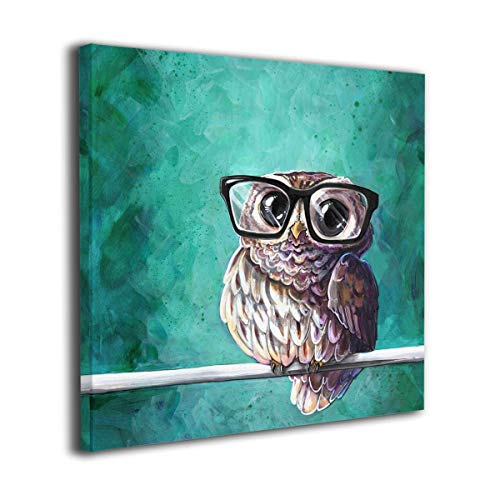 Martoo Art Owl Glasses Painted Framed Oil Paintings Printed On Canvas Wall Office Home Decor Pictures Modern Artwork Hanging Living Room Decorations Ready to Hang