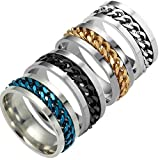 #3: Clearance Men's Titanium Steel Chain Rotation Ring Cross Border Jewelry Ring
