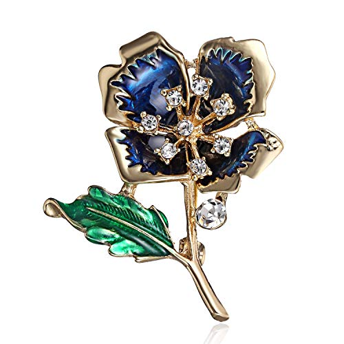 Brooch Floral Design - AILUOR Elegant Shining Crystal Rose Flower Brooch Pin, Fancy Beauty Floral Design Brooch Pins for Women Lady Bridal Wedding Corsage Bouquet Jewelry Christmas/Valentine's Gifts (Blue)