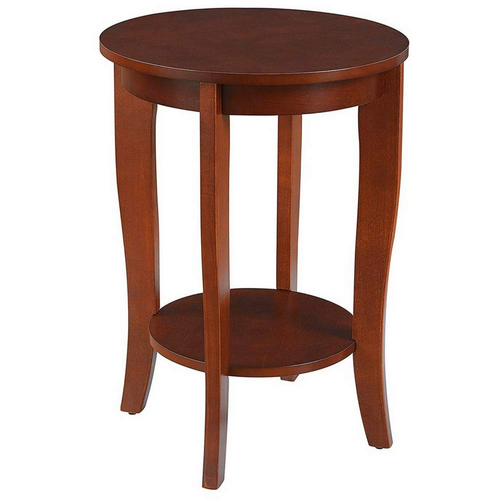 Chairside end table round curved legs with lower open storage shelf wood black finish decorative coffee bedside sofa table bedroom living room hallway home
