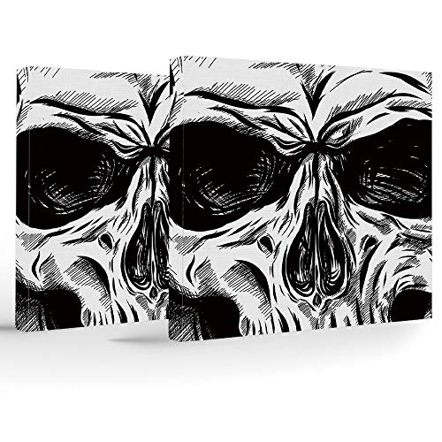 (2 Panels Stretched Canvas Framed Wall Art,Halloween,Modern Home Decor Stretched and Framed Ready to Hang,Gothic Dead Skull Face Close Up Sketch Evil Anatomy Skeleton Artsy Illustration)