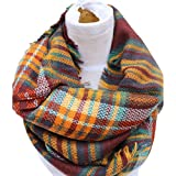 Epic Brand Infinity Scarf Collection for Men and Women | Comfortable Plaid Tartan Cashmere Blanket Circle Winter Scarves (Plaid Burgundy/Sienna)