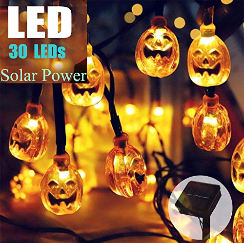 Batlofty Christmas Solar Lights, Pumpkin LED String Lights with 20 ft 30 LEDs and IP65 Waterproof, Decorative Outdoor String Lights for Patio, Garden, Gate, Yard, Halloween Christmas Decoration