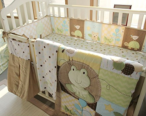 NAUGHTYBOSS Unisex Baby Bedding Set Cotton 3D Embroidery Frog Tortoise Owl Quilt Bumper Bedskirt Fitted Blankets Diaper Bag 9 Pieces Green by NAUGHTYBOSS (Image #3)