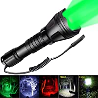 Odepro Zoomable Hunting Flashlight with Red Light Green...