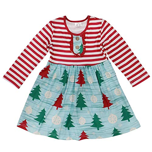 So Sydney Girls or Toddler Fall Winter Christmas Boutique Holiday Dress Long Sleeves (S (3T), Winter Tree Stripe)