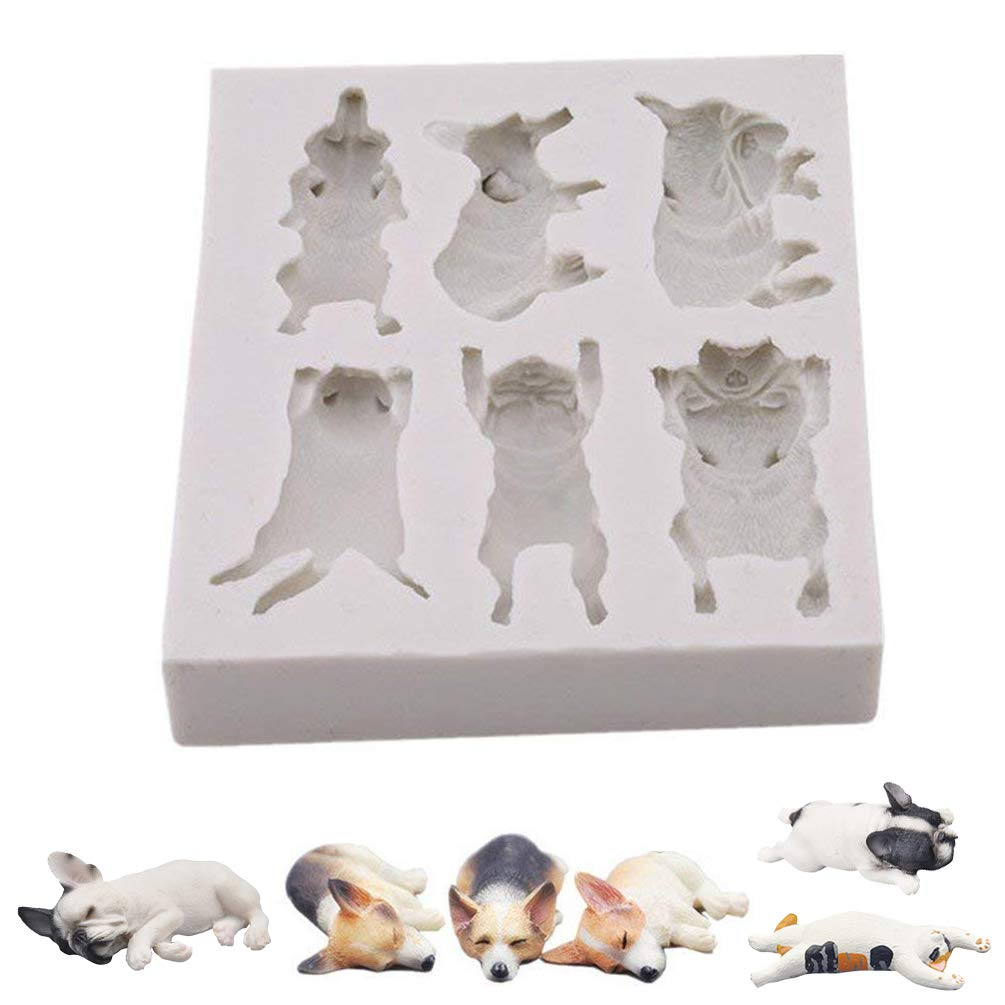Cat Dog Cake Mould Silicone Fondant Pet Doggy Kitty Animal Chocolate Baking Candy Cookie Soap Mold Sugarcraft Sugar Paste Decorating Cupcakes FunMove