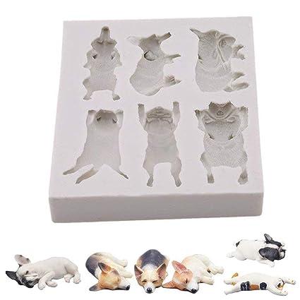 Molde de silicona para fondant de perro o gato, para pasteles, mascotas, perros