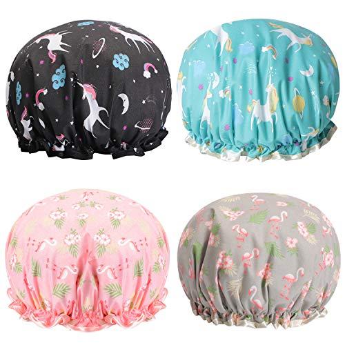 """Unicorn Shower Caps Flamingo Bath Cap 10.5"""" Waterproof Double Layers Reusable for Women Hair Protection EVA Plastic Lace"""