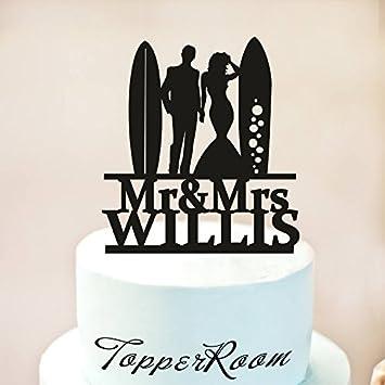 Decoración para tarta de surfistas de boda con texto en inglés «Mr and Mrs»