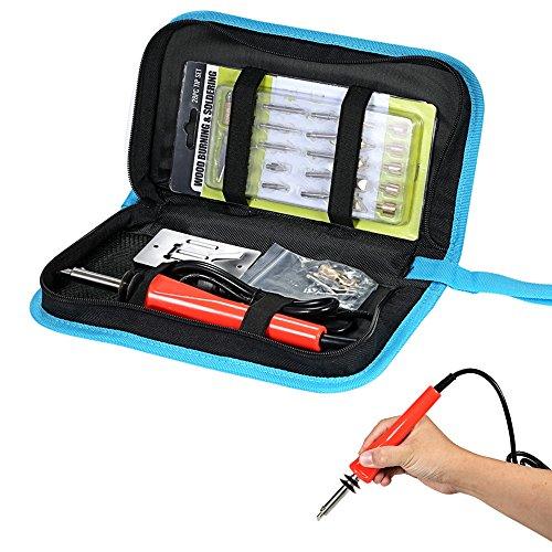 KKmoon 37PCS Wood Burning Kit Pyrography Tool Set Kit Woodburning Tips Hobby Craft Soldering Iron Pen Tools for Wood 110-120V 30W