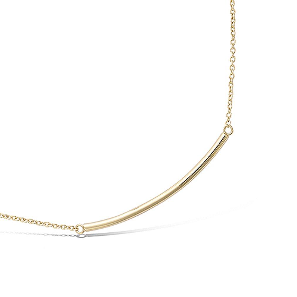 Tata Gisèle collar cadena chapada en oro – Barra Baton tumbado – 45 cm – incluye bolsita regalo terciopelo