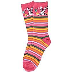 K. Bell Women's Happy Bunny Crew Socks - Bunny Stripe