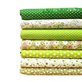Souarts Floral Cotton Fabric Bundles Quilting Sewing Patchwork Cloths DIY Craft (Green)