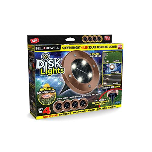 Bell + Howell Disk Lights Bronze - Heavy Duty Outdoor Solar Pathway Lights - 4 LED, Auto On/Off, Water Resistant, with Included Stakes, for Garden, Yard, Patio and Lawn - As Seen on TV