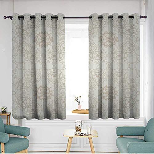 TRTK Blackout Curtains Room Darkening Noise Reducing Background Retro Vintage Wallpaper W55 x L72