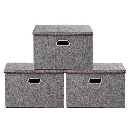 Storage Bins,Okdeals Linen Fabric Foldable Basket Cubes Organizer Boxes Containers Drawers with Lid - Gray For Office Nursery Bedroom Shelf,Set of 3 (Grey)