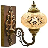 Turkish Moroccan Mosaic Tiffany Glass and Metal Wall Light Sconce (Turkish Rug) (Snowy Garden)