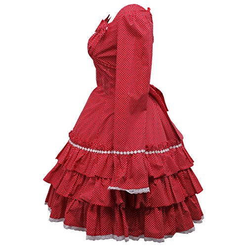 Partiss Kleider Damen Love Lolita Langarm Suesses Rot Sweet Applique 00f6xr