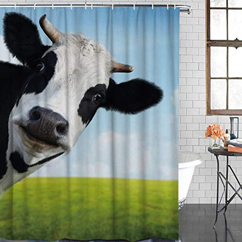 Anzona Durable Polyester Fabric Shower Curtains for Bathroom Stall 36'' x 78'' Grassland Cattle Cow Looking at You Nature Waterproof Bathtub Curtains Set with Hooks