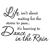 Life Isnt About Waiting for the Storm To Pass Its Learning To Dance In The Rain Vinyl Wall Decal Inspirational Quotes Picture