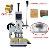 Hot Foil Stamping Machine 10 x 13cm 110V Tipper Stamper Bronzing Card Foil Logo Embossing for for PVC leather PU and Paper Stamping with Holder