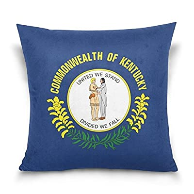 Gail M Flag of Kentucky Throw Pillow Covers 18 x 18 Inch