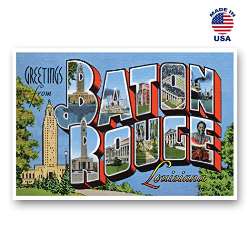 - GREETINGS FROM BATON ROUGE, LA vintage reprint postcard set of 20 identical postcards. Large Letter Baton Rouge, Louisiana city name post card pack (ca. 1930's-1940's). Made in USA.