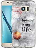 S6 Case / IWONE Designer TPU Non Slip Rubber Durable Compatible Protective Skin Transparent Cover Shockproof For Samsung Galaxy S6 + Creative Painting Basketball Quotes Sports