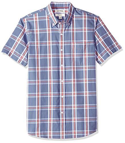Goodthreads Men's Slim-Fit Short-Sleeve Plaid Poplin Shirt, -denim multi plaid, X-Large