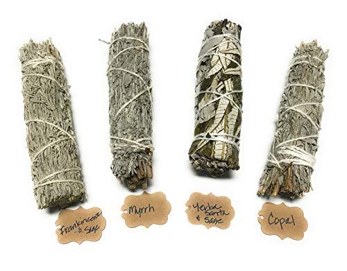 Arianna Willow Mystical Variety Smudge Sticks Including Copal, Frankincense, Myrrh, and Yerba Santa.