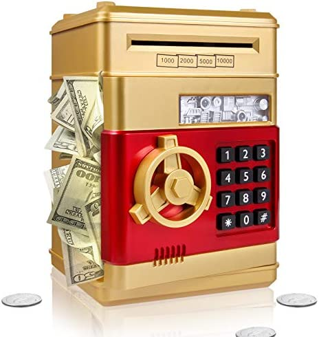 Surejoy Piggy Bank for Boys Girls, Large Electronic Real Money Coin Bank with Safe Password Lock, Auto Scroll Paper Money Plastic Saving Box Toy, Gift for 4 5 6 7 Years Old Kids (Gold)