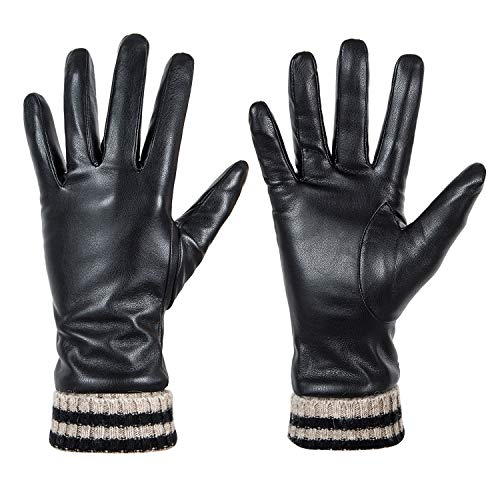 Womens Winter Leather Touchscreen Texting Warm Driving Gloves by Dsane