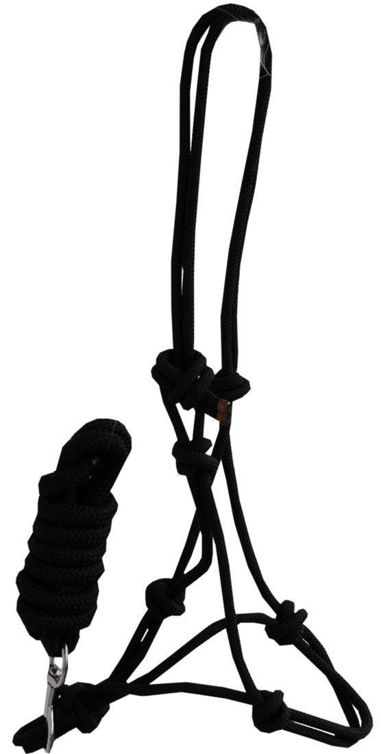 Nudo Halter con plomo cuerda negro | Halter con cuerda con nudo de trabajo de suelo Bodenarbeit Horsemanship