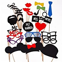 Tinksky 31-In-1 DIY Glasses Moustache Red Lips Bow Ties On Sticks Wedding Birthday Party Photo Booth Props