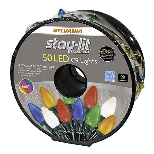 Sylvania Stay-Lit Platinum LED Indoor/Outdoor Christmas String Lights (Multi-Colored, 50ct C9 lights)